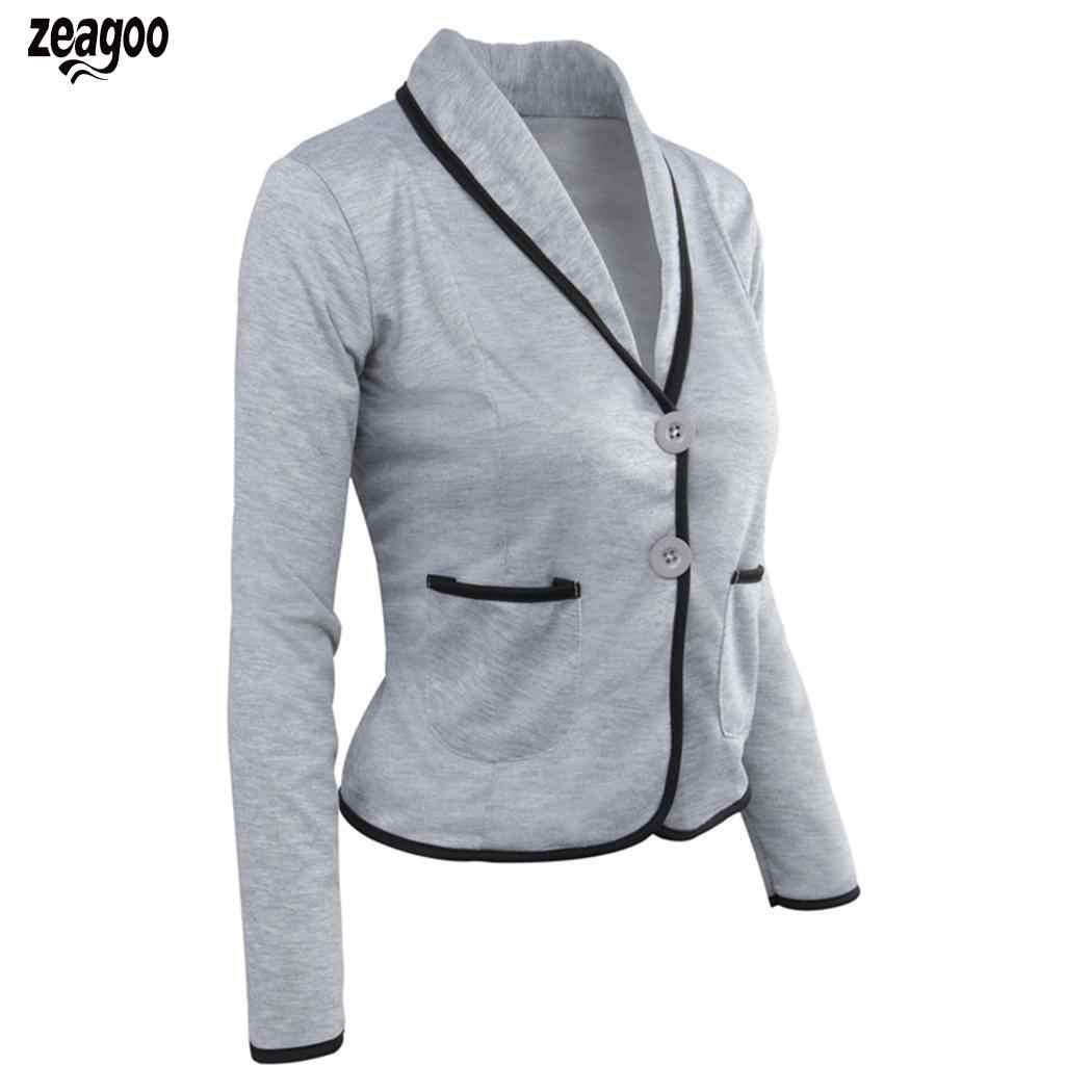 女性のカジュアルなターンダウン襟長袖パッチワークブレザーシングルブレストカジュアル、オフィスレディー固体