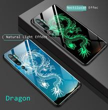 For Xiaomi Mi 10 Note 10 Pro Case Cover Luminous Tempered Glass Pattern Xiomi Note10 Globa Shockproof Shell Capas Full Back Case