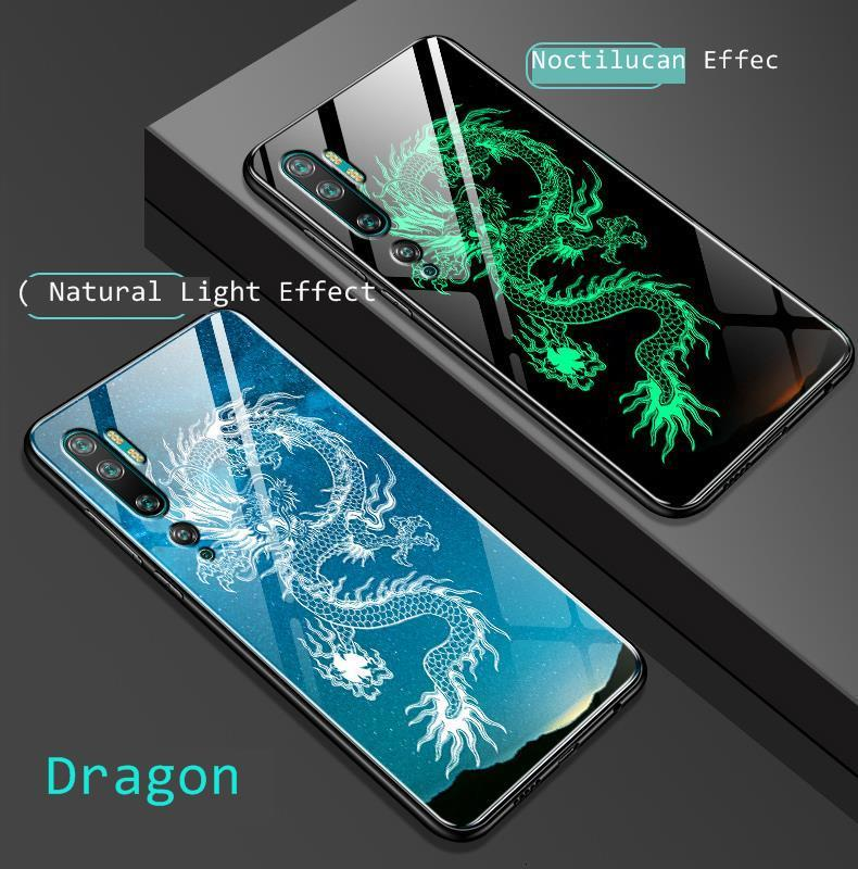 For Xiaomi Mi Note 10 Pro Case Cover Luminous Tempered Glass Pattern Xiomi Note10 8 Global Shockproof Shell Capas Full Back Case