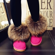 Natural Fox Fur Womens Winter Snow Boots Top Quality Cotton Cow Muscle Big Round Toe 100% Genuine Leather