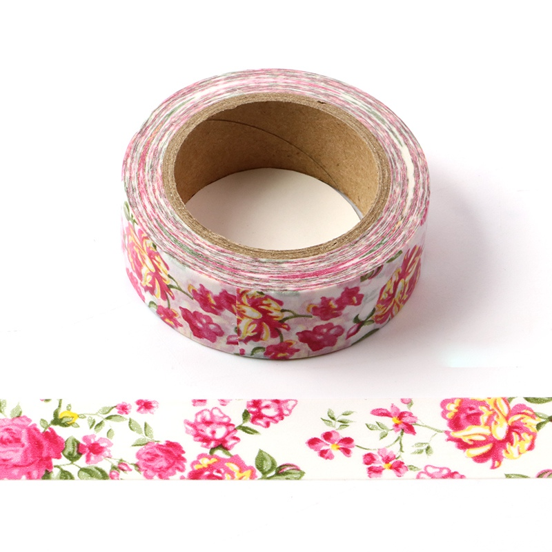 10M Decorative Beautiful Red Pink Flowers Washi Tape DIY Scrapbooking Sticker Label Japanese Masking Tape School Office Supply