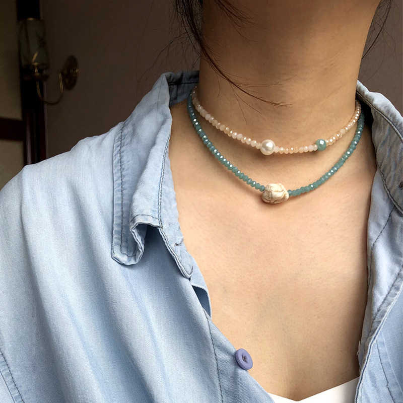 Exaggerated jewelry geometric Crystal Necklace women's Handmade Beaded pine stone pearl combination collarbone Chain Collar