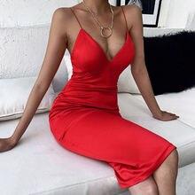 Сексуальное платье с v образным вырезом атласное лямкой на шее