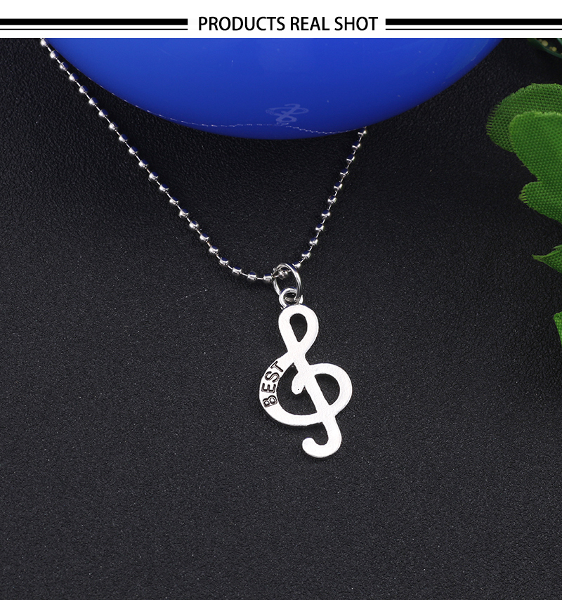 Charm Musical Note and Violin Clef Pendant Necklace Best Friends