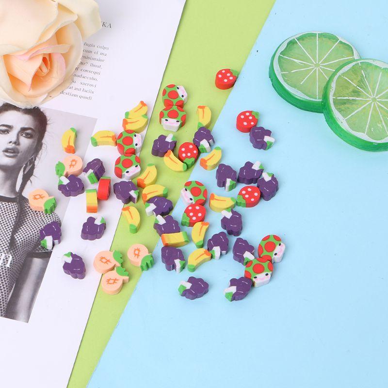 50Pcs Cute Mini Fruit Rubber Pencil Eraser Children Creative Stationery Gift Toy L41E