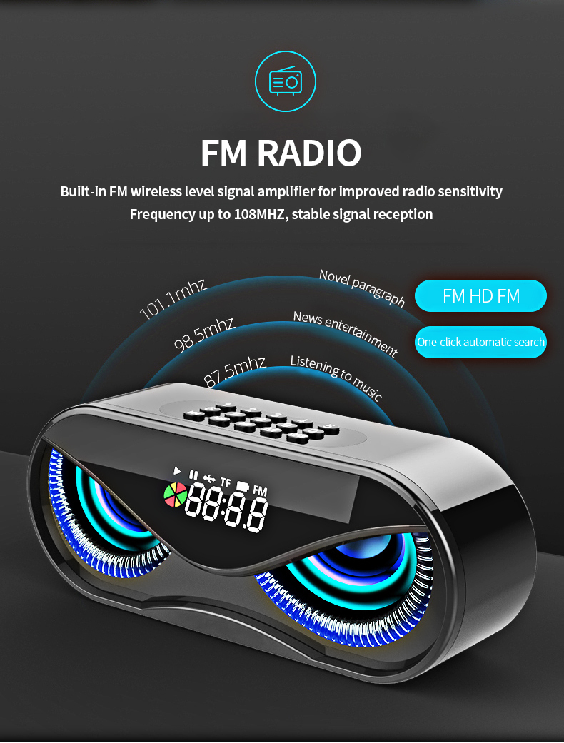 FM Radio Alarm Clock Bluetooth Speaker with LED Flash H710fc3457cd04a0db38e075e1ed03090D speaker