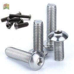 5/50pc M2 M2.5 M3 M4 M5 M6 M8 304 A2-70 Stainless Steel Black grade 10.9 ISO7380 Hexagon Hex Socket Head Button Allen Bolt Screw