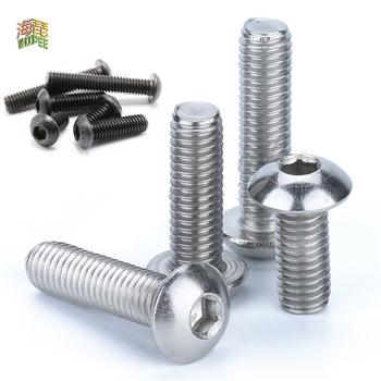50pcs m2 m2 5 m3 m4 iso7380 stainless steel 304 round head screws mushroom hexagon hex socket button head screw bolt 5/50pc M2 M2.5 M3 M4 M5 M6 M8 304 A2-70 Stainless Steel Black grade 10.9 ISO7380 Hexagon Hex Socket Head Button Allen Bolt Screw