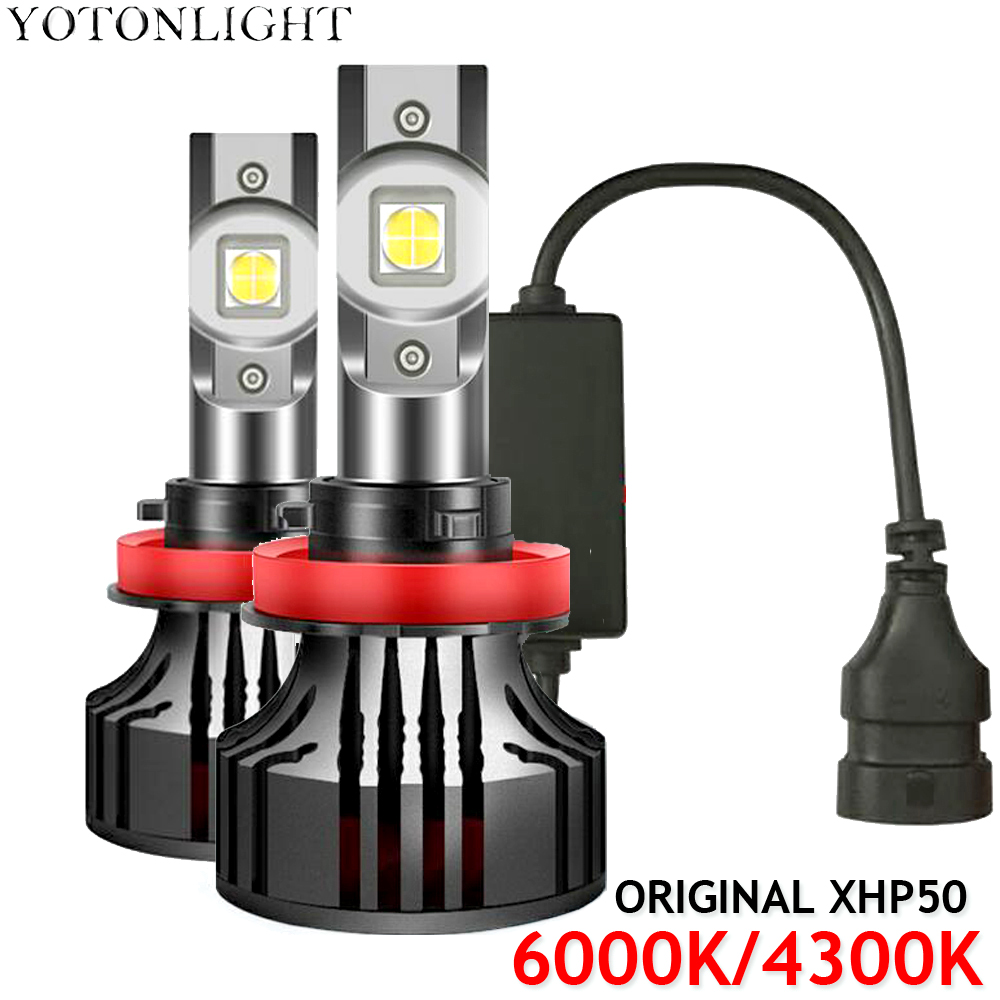 2 шт. оригинальные светодиодные лампы для фар XHP50 H4 H7 H11 H1 4300K H11 Hb3 Hb4 9005 9006 H8 H9 80 Вт 18000LM 6000K 12В