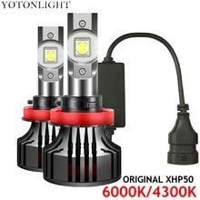 2 pezzi originali XHP50 H4 H7 H11 H1 lampadine per fari a Led 4300K Hb3 Hb4 9005 9006 H8 H9 luci per auto fendinebbia 80W 18000LM 6000K 12V