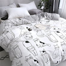 New Cartoon Cat Bedding Set Cotton Kawaii Comforter Bedding Sets For Women Girl King Twin Queen