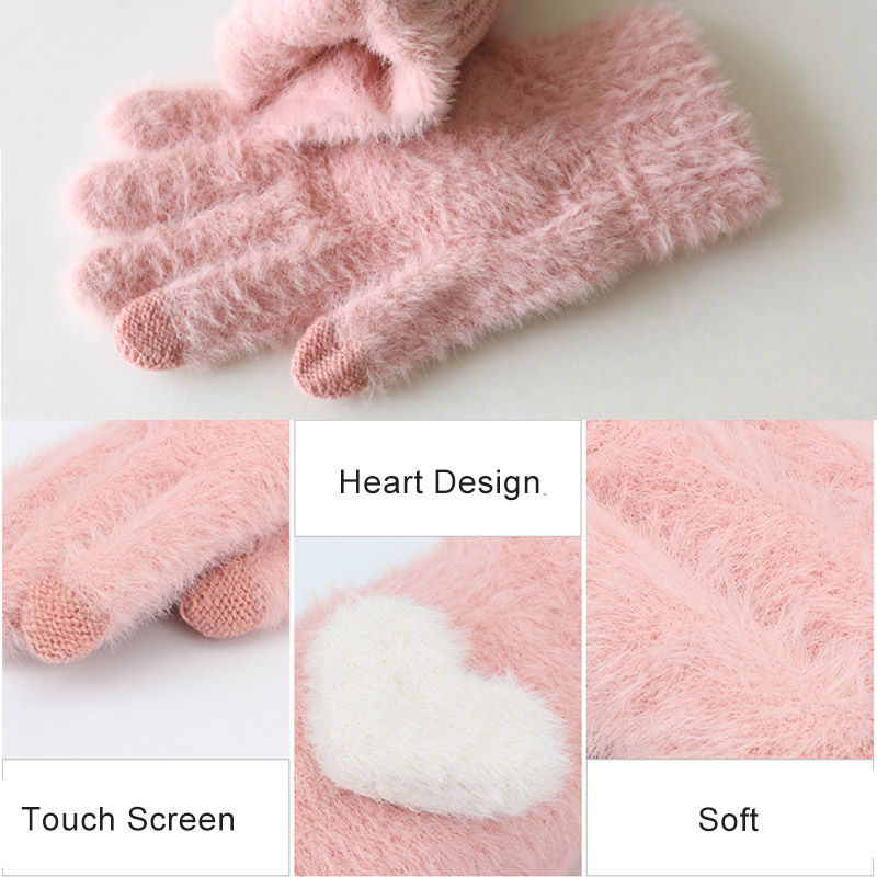 Fashionable and Knitted Touch Screen Gloves for Women Made of Soft Rabbit Wool with Pink Heart Design 5