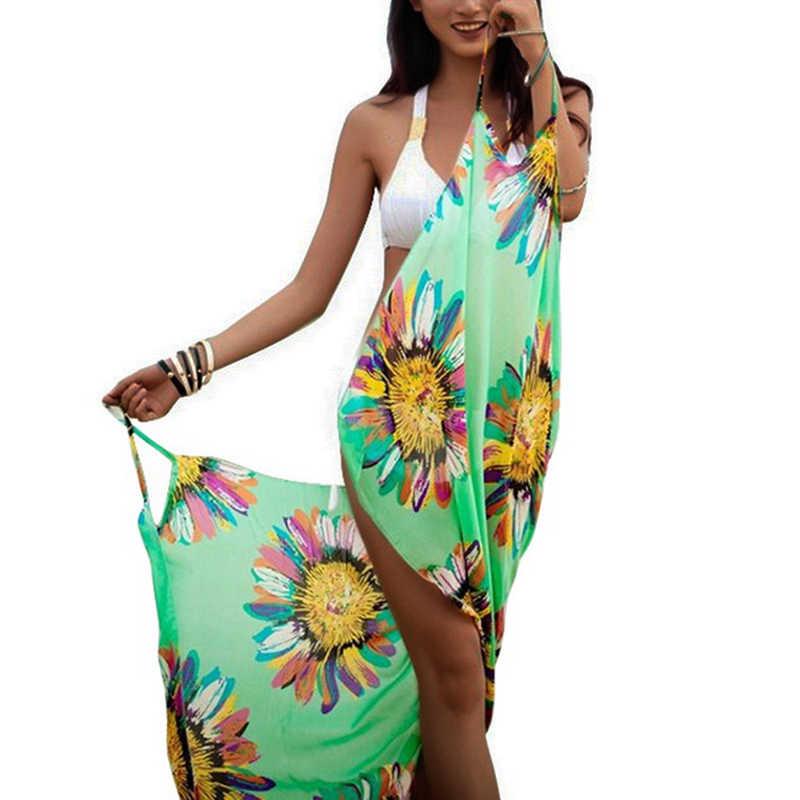 슈진 여성 플로랄 비치 드레스 섹시 슬링 비치웨어 드레스 사롱 비키니 커버 업 랩 파 레오 스커트 여름 수영복 Vestidos