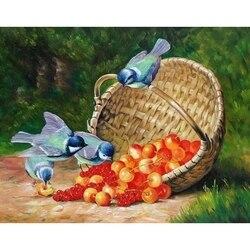 Malerei durch zahlen vögel und beeren, 40x50 cm