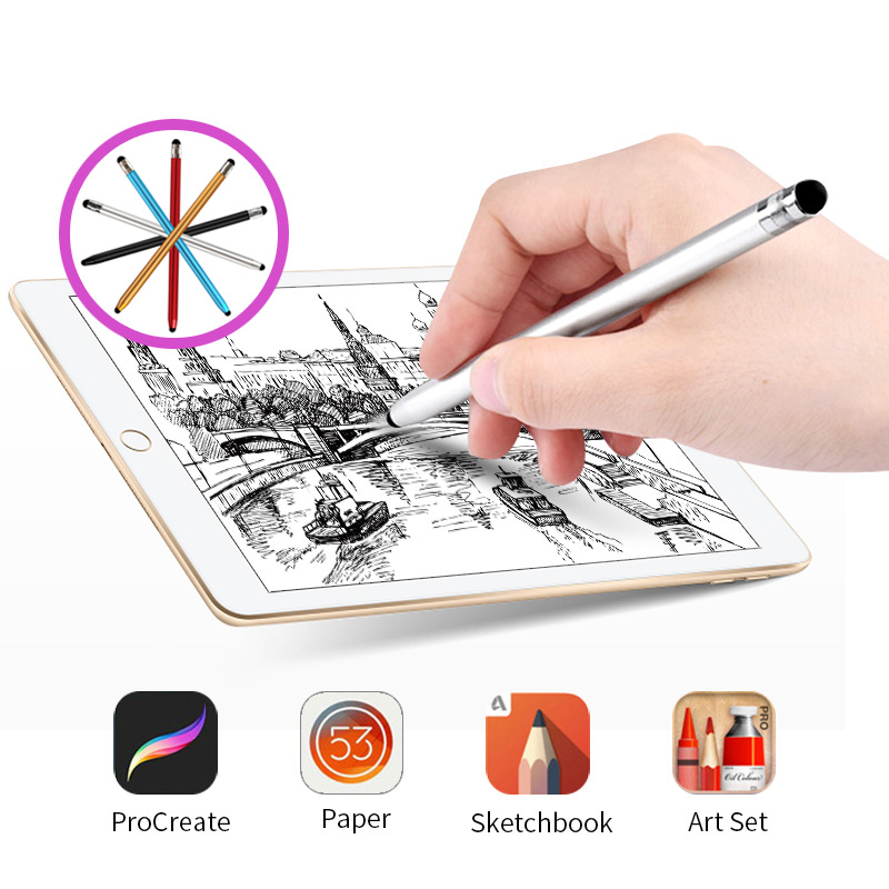 Metal Stylus Pen For Phone Dual Touch Plug Android Tablet Mobile Phone Stylus Smartphone Drawing Universal Smart Pen
