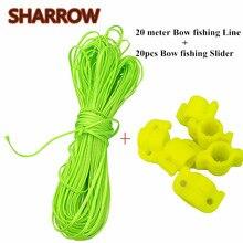 Зеленая акриловая леска с бантом, 20 метров + 20 шт., диаметр 8 мм, ползунок для рыбалки, аксессуары для ловли рыбы на открытом воздухе