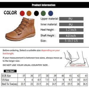Image 5 - Botines de piel sintética para mujer, botas con cordones y correa cruzada, para primavera y otoño, WJ003