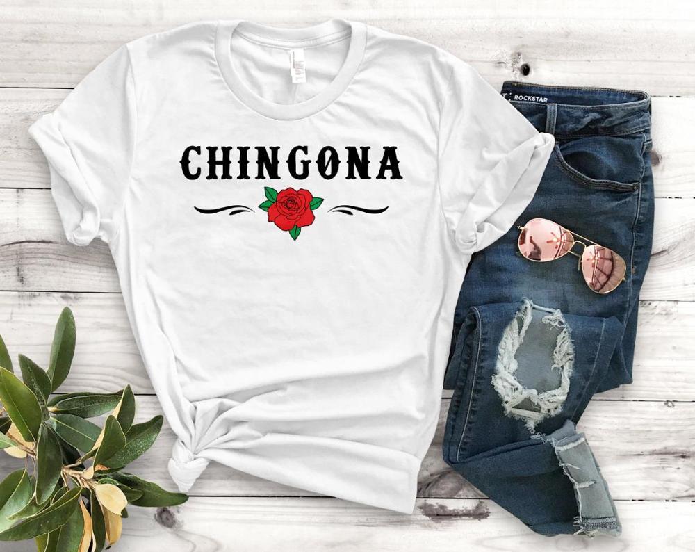Chingona rose Latina imprimer femmes t-shirt coton décontracté drôle t-shirt cadeau pour dame Yong haut pour fille t-shirt PM-97