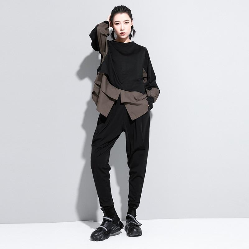 [EAM] Women Army Green Irregular Split Joint Big Size T-shirt New Round Neck Long Sleeve  Fashion Spring Autumn 2020 1DA608 3