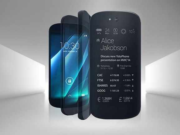 """オリジナルヨタ yotaphone 2 4 グラムデュアルがれスマートフォン 5 """"hd 画面 5.0"""" タッチ電子インク 800MP 2 グラム + 32 グラムの snapdragon クアッドコア携帯電話"""