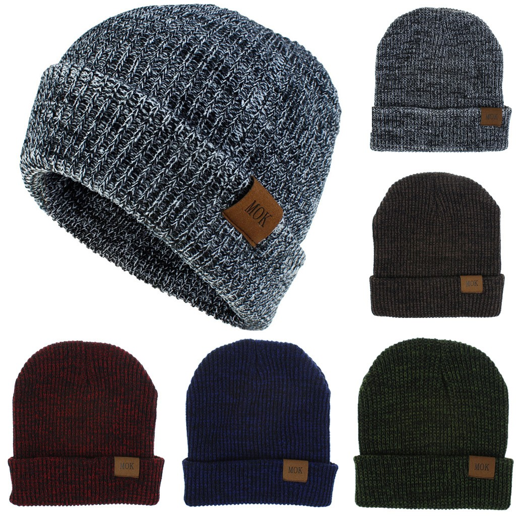 Autumn MOK Knit Hats New Fashion Women Men Keep Warm Winter Casual Solid Wool Hemming Ski Hat High Quality Caps Freeship шляпа