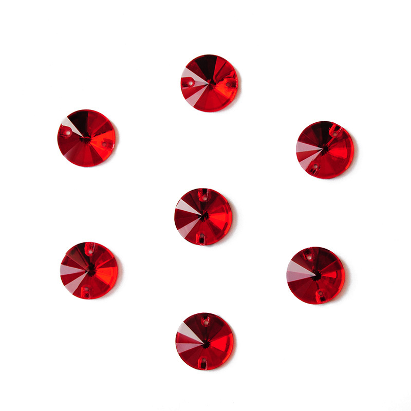 CTPA3bI Light Siam Sew On Glass Crystal Stones Flatback Rivoli Strass Red Super Rhinestones For Needlework Clothes Decoration-1