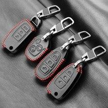 Porte-clés de voiture en cuir, étui de protection pour Ford Focus 2 3 4 MK2 MK3 MK4 Kuga Edge Mondeo Fusion Ecosport Fiesta