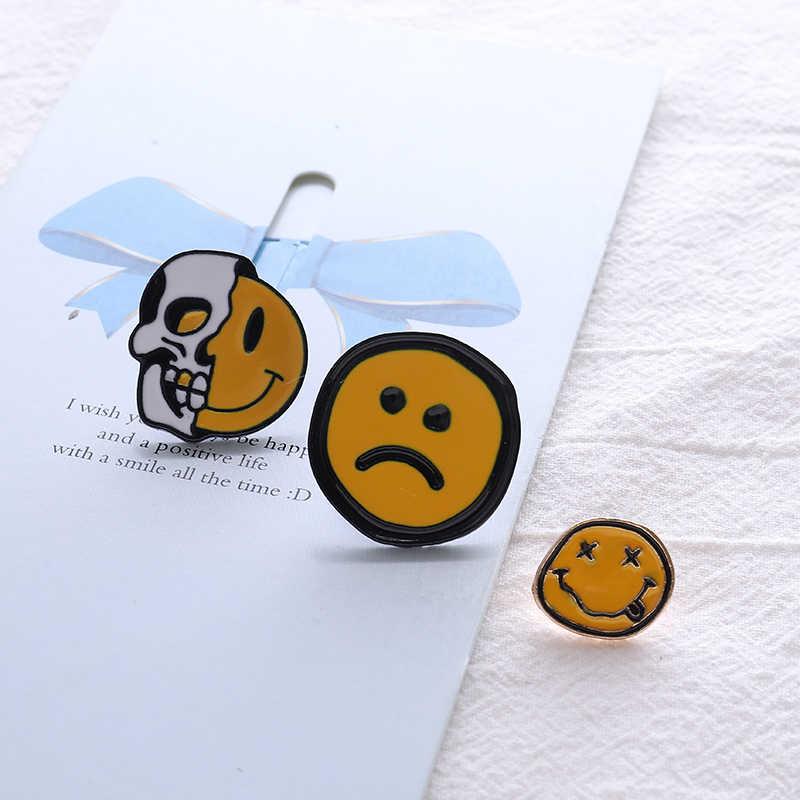 L'expression épingles en émail Triste Sourire Heureux badges Halloween crâne d'horreur broches vestes Chemise sac épinglette Dessin Animé bijoux cadeaux