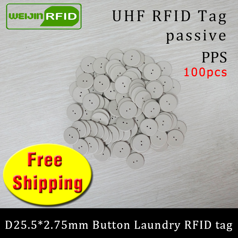 UHF RFID Laundry Button Tag 915mhz 868mhz 860-960MHZ Alien H3 100pcs Free Shipping Passive RFID PPS Heat And Water Resisting Tag