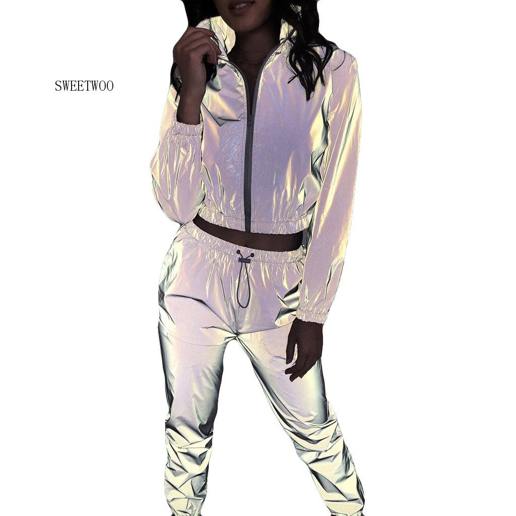 Fashion Tracksuit For Women Casual 2 Pieces Running Sets Reflective Set Long Sleeve Crop Tops + Pants Fitness Sportswear