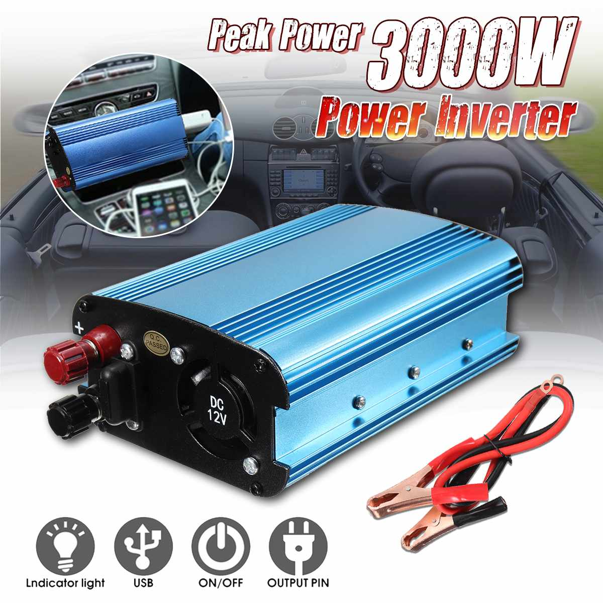 Auto <font><b>Inverter</b></font> 3000W DC 12/<font><b>24</b></font>/48/60V zu AC <font><b>220V</b></font> Solar Power <font><b>Inverter</b></font> konverter Modifizierte Sinus Welle Konverter image