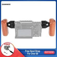 CAMVATE 2pcs 카메라 나무 손잡이 그립 DV 비디오 케이지에 대 한 커넥터 빨간색 카메라/빨간색 조작/다른 SLR 카메라 리그와 호환
