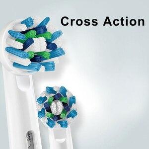 Image 3 - Oral Bเปลี่ยนหัวแปรงสีฟันสิ่งที่แนบมาแปรงอะไหล่ 4 ชิ้น/แพ็คPrecision Clean CROSS Action 3Dสีขาว