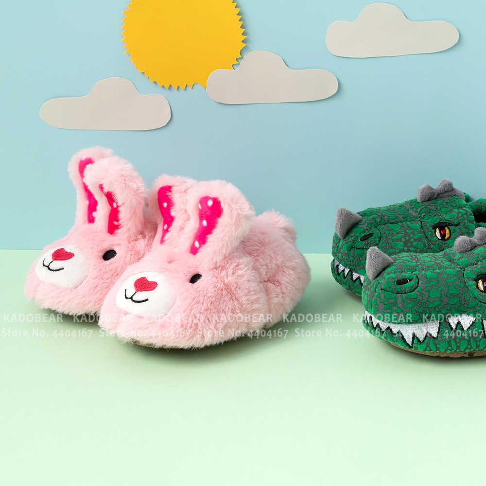 תינוק ילד דינוזאור פרווה קטיפה מקורה בית שטוח כפכפים ילדים פעוט ילדה קריקטורה באני חורף נעלי ילדי לשמור חם פרווה שקופיות