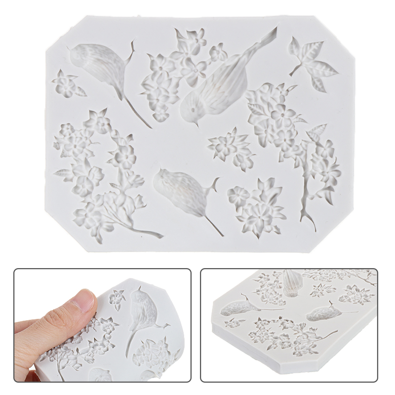 Magpie Bird and Flower Food Silicone Fondant Mould DIY Cake Animal Tree Flowers Chocolate Baking Icing Mold Clay Decor Tools|  - title=
