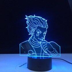 Светильник для декора аниме Hunter X, 3d-лампа, гаджеты Hisoka, детский ночник, светодиодный сенсорный цветной светильник в подарок, ночник для спал...
