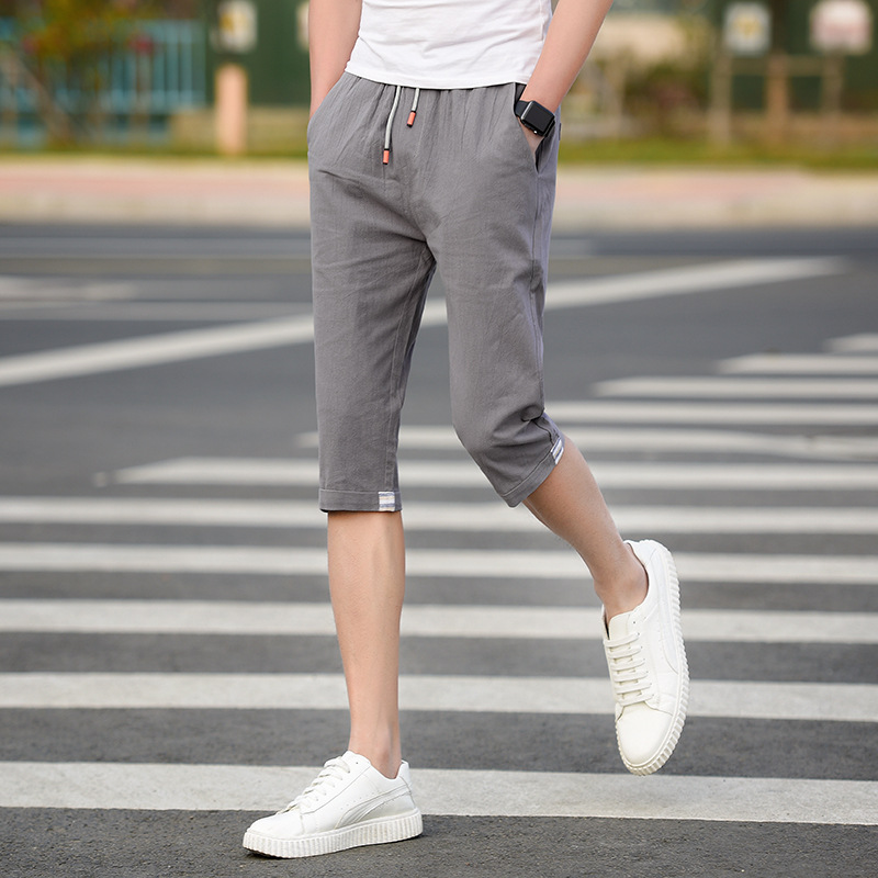 Pure Cotton Shorts Summer New Style Cotton Cropped Trousers For Men Japanese-style Trend Casual Pants Summer Shorts Solid Color