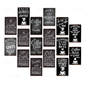 Coffee Makes Everything Possible Retro Metal Plaque Vintage Tin Sign Cafe Bar Pub Poster Wall Decor Plate 20*30Cm