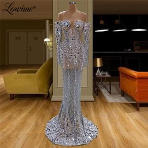 Image 1 - Illusion Full Beaded Evening Dress Handmade Pearls Crystals Saudi Arabia Party Dresses See Through Prom Dress Robe De Soiree