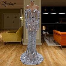 Illusion tam boncuklu gece elbisesi el yapımı İnciler kristaller suudi arabistan parti elbiseler balo elbise See Through Robe De Soiree