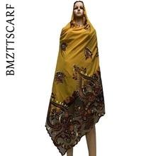 High Quality African Women Scarfs Soft Chiffon Scarf Splice with Net Heavy Chiffon Scarfs for pray scarfs BM772