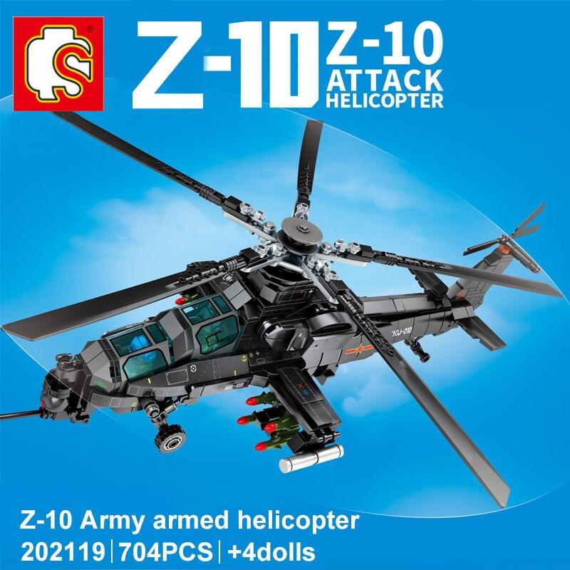 SEMBO 704Pcs Military Swat Aircraft Army Police Z-10 Gunship Building Blocks High-tech ArmedSoldier Figures DIY Bricks Toys Gift
