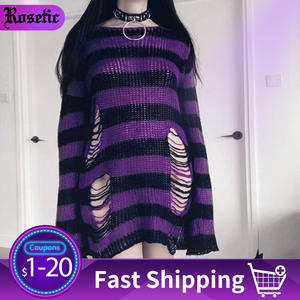 Rosetic Gothic Sweater Jackets Jersey Jumpers Long-Pullover Knitted Befree Striped Winter