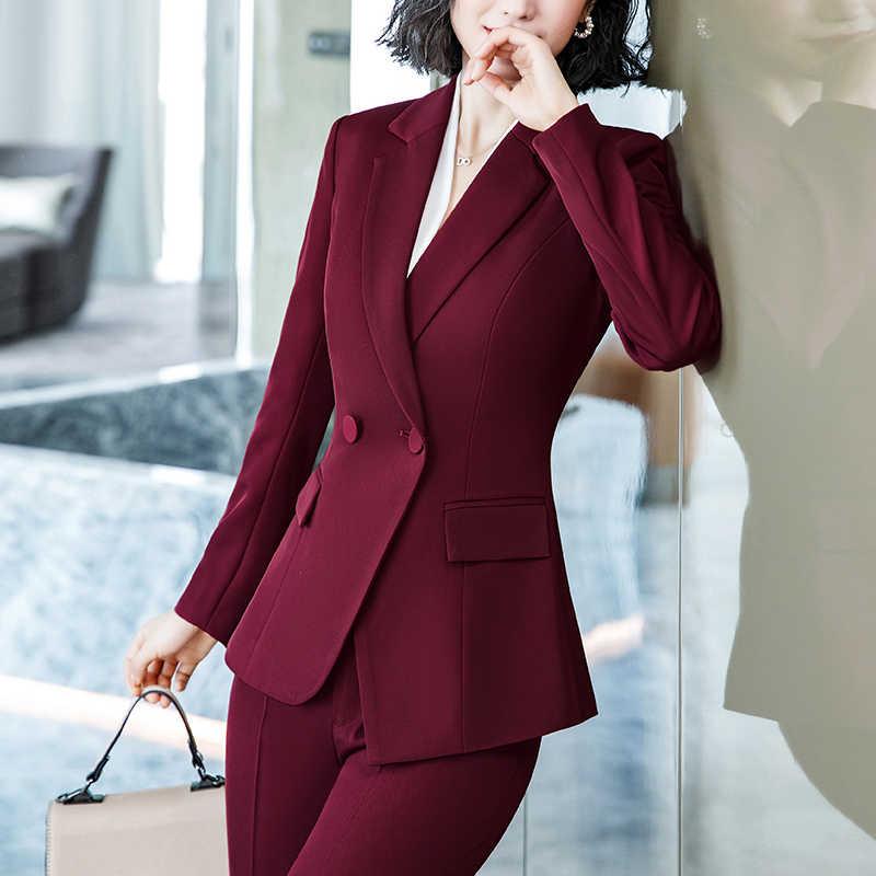 Lenshin 2 個セットシンプルなフォーマルパンツスーツブレザーポケットオフィス女性デザイン女性シングルブレストジャケットとパンツ