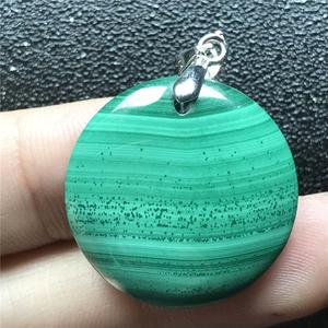 Image 1 - 24x6mm Natural Green Malachite Necklace Pendant For Woman Lady Man Crystal 925 Silver Round Beads Stone Pendant Jewelry AAAAA