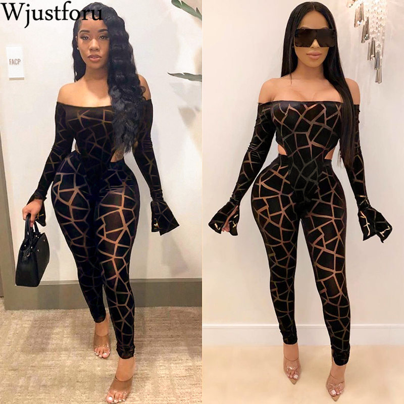 Wjustforu Strapless Sexy Print Pencil Jumpsuit Women Off Shoulder Flare Sleeve Club Bodysuit Female Skinny Elegant Party Overall