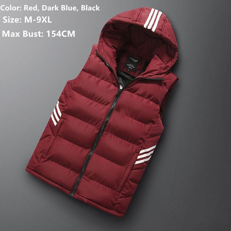 Sleeveless Hoodie Men Vest Winter Gilet Uomo Inverno Jacket 6XL 7XL 8XL Men's Warm Casual Plus Size Mannen Black Red Waistcoat