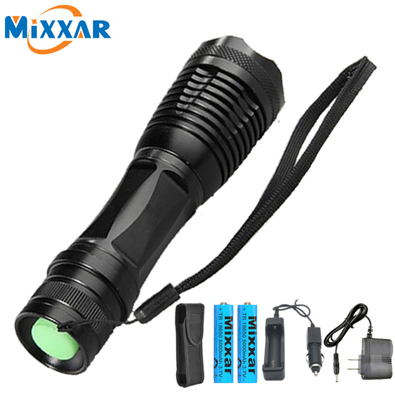 ZK20 LED Flashlight Torch T6 Torch Waterproof Dropshipping Flashlights 5 Mode Lantern Camping Lamp Light 2*18650 Battery