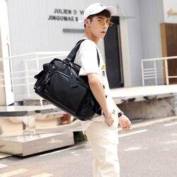 Large Capacity Handbags Men Pu Leather Black Men's Shoulder Bag Solid Casual Totes Business Travel Handbag Cross Body Bag Male