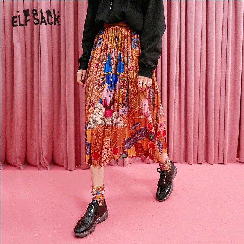 ELFSACK Figure Print Vintage Skirt Women Clothes 2019 Autumn Fashion Korean Style Loose Female Skirts